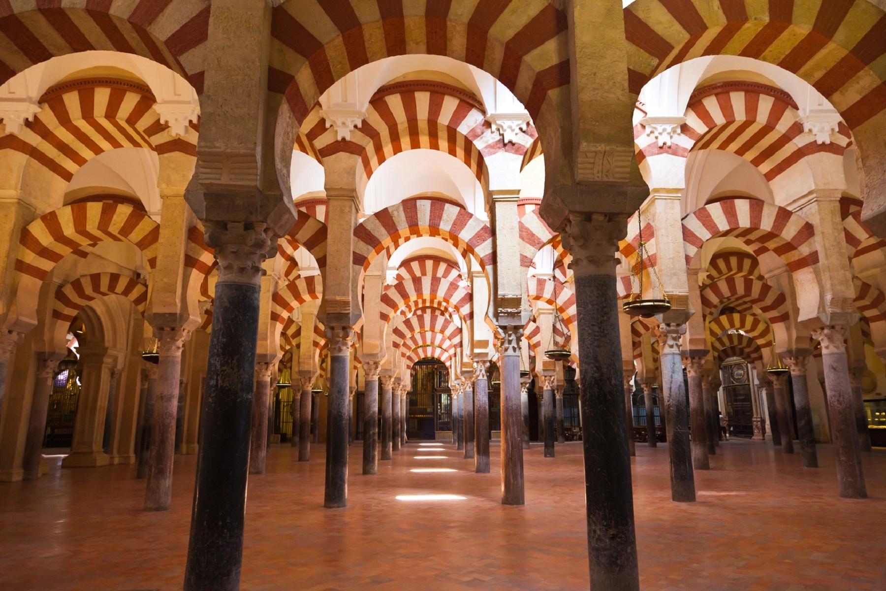 Arabic arches hallway in Corodoba's mosque. Spain